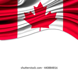3D illustration of canada fabric waving of flag.