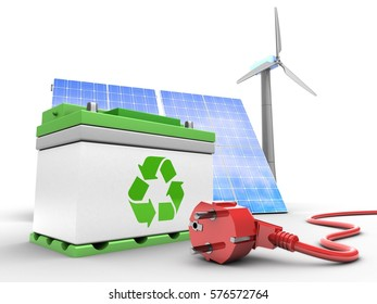 3d illustration of car battery over white background with solar and wind energy and power cord