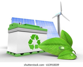 3d illustration of car battery over white background with solar and wind energy and green leaf