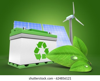 3d illustration of car battery over green background with solar and wind energy and green leaf