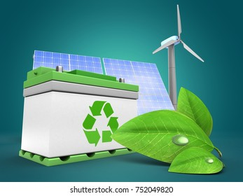 3d illustration of car battery over blue background with solar and wind energy and green leaf