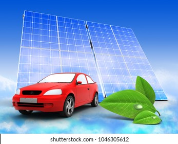 3d illustration of car over sky background with solar panel and leaf