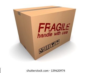 3d illustration of cardboard box with fragile sign
