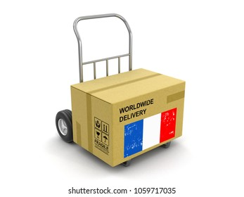 3d illustration. Cardboard Box on Hand Truck with French flag. Image with clipping path