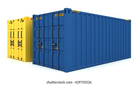 3D Illustration of Cargo containers isolated on white