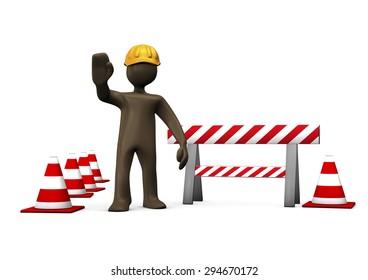 3D Illustration, cartoon character, construction worker, under construction
