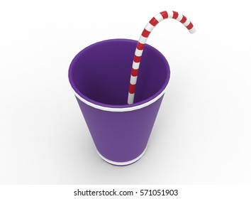 3d illustration of cartoon drink cup. white background isolated. icon for game web.