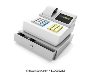 3d illustration: cash register close-up