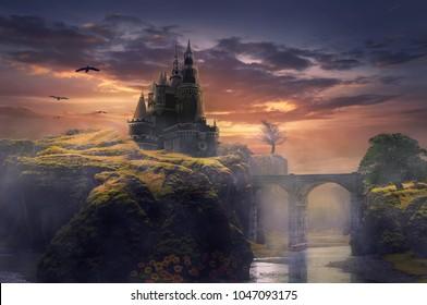 3d illustration castle on hill sunrise