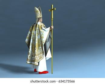 3d illustration of a Catholic pope