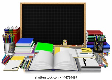 3D illustration. Central blackboard to enter text with writing materials used in schools, universities, office.