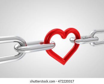 3d illustration of chain with red heart element