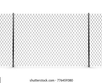 3d Illustration. Chainlink fence. Image with clipping path