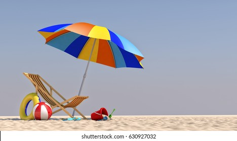 3D Illustration Chair Umbrella on the beach
