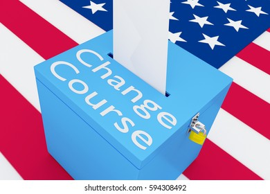 """3D illustration of """"Change Course"""" scripts on a ballot box, with US flag as a background."""