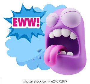 3d Illustration Character Emoticon Disgusting Expression saying Eww with Colorful Speech Bubble.