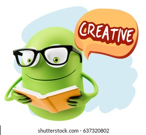 3d Illustration Character Emoticon Intelligent Expression saying Creative with Colorful Speech Bubble.