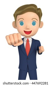 3D illustration character - The small businessman of the victory pose.