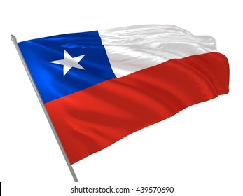 3d illustration of Chile flag waving in the wind