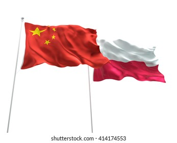 3D illustration of China & Poland Flags are waving on the isolated white background