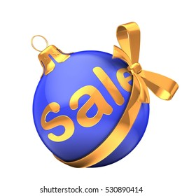 3d illustration of Christmas ball blue over white background with sale sign and golden ribbon