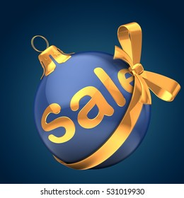 3d illustration of Christmas ball dark blue over dark blue background with sale sign and golden ribbon