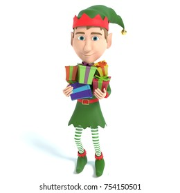 3d illustration of a Christmas Elf holding gifts