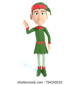 3d illustration of a Christmas Elf waving