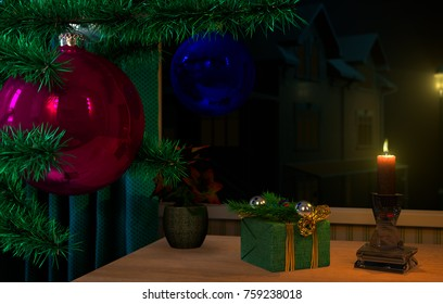 3D illustration ,Christmas and new year, a fir-tree branch with ornament, candles burn, on on a table a gift