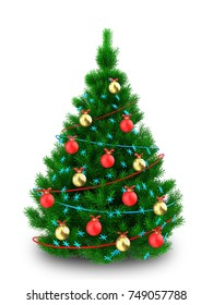 3d illustration of Christmas tree with tinsels over white background
