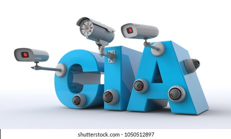 3D illustration of CIA text with cctv cameras