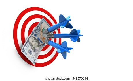 3d illustration of circles target with three darts and 100 dollars over white background
