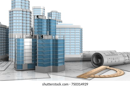 3d illustration of city quarter construction with urban scene over white background