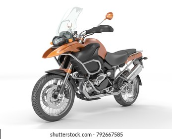 3d illustration classic black orange motorcycle on a white background,