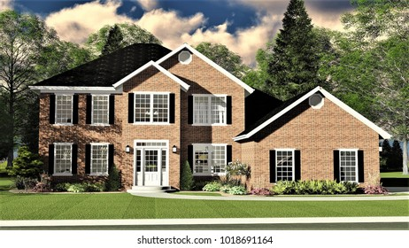 3D Illustration of a Classic Brick Two Story Home