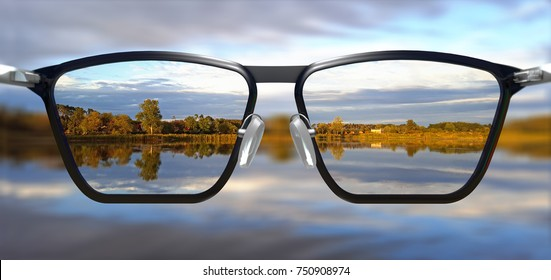 3D Illustration of clear vision through glasses