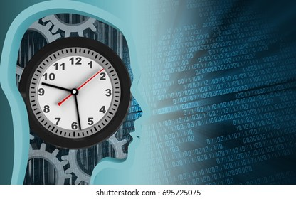 3d illustration of clock over binary background with gears
