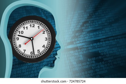 3d illustration of clock over binary background with