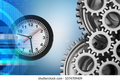 3d illustration of clock over blue background with mechanic