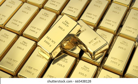 3D illustration closeup shiny group gold bars and two on top macro zoom