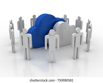 3d illustration cloud Business Network