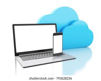 3d illustration. cloud symbol with Laptop and smartphone. Cloud computing concept. Isolated on white background.
