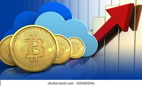 3d illustration of clouds over rising charts background with bitcoins row