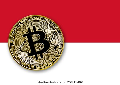 3D illustration coin bitcoin on the flag of of Monaco