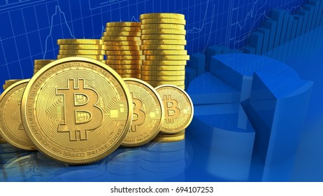 3d illustration of coins stack over business charts background with bitcoins row