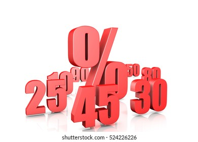 3d illustration collection of discount