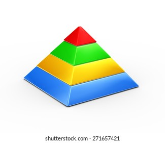 3d illustration of colorful four layer pyramid on white background