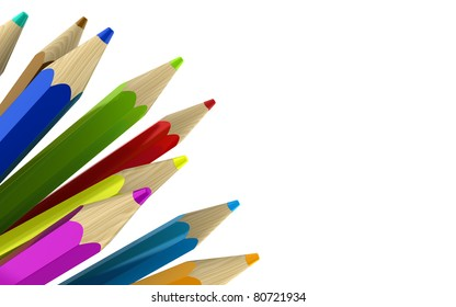 3d illustration of colorful pencils at left side of white background