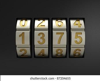 3d illustration of combination lock on black background