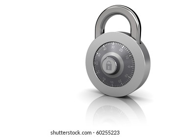 3d illustration of combination lock at right side of white background